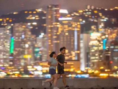 Running with Hong Kong's night scape as your backdrop